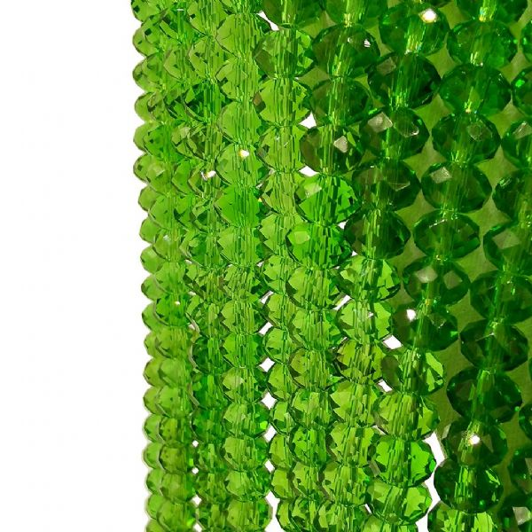 98 pcs x 6mm Glass Faceted Rondelle  Green 014